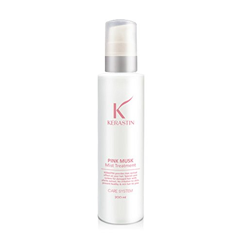 Kerastin Pink Musk Mist Hair Essence 200ml 6.7 oz Watery Spray Type Serum Rinsless Treatment Salon Hairdresser Care Organic Silky Nourishment Frizzy Rough Hair Salon Barber Shop Quality -