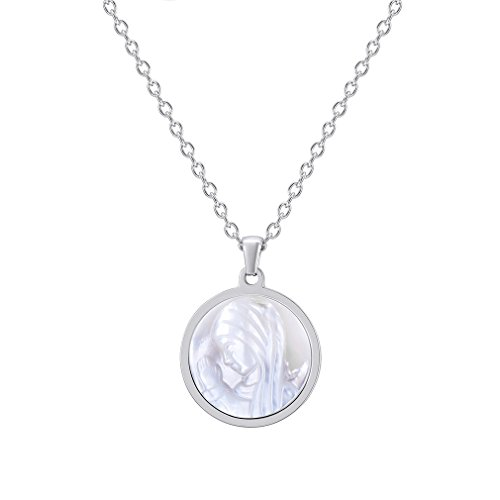 FaithHeart Virgin Mary Pendant Necklace Stainless Steel Natural Shell Jewelry Mother of God Accessories (Natural Shell Pendant Necklace)