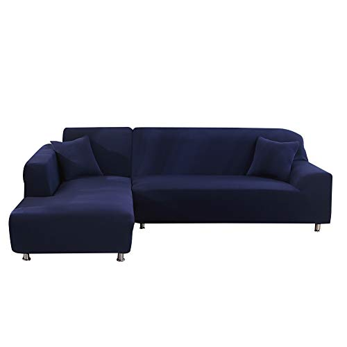 Beacon Pet Sofa Covers for L Shape 2pcs Polyester Fabric Stretch Slipcovers + 2pcs Pillow Covers for Sectional Sofa L-Shape Couch with Anti-Slip Non-Slip (Navy Blue 90 inches+118 inches)
