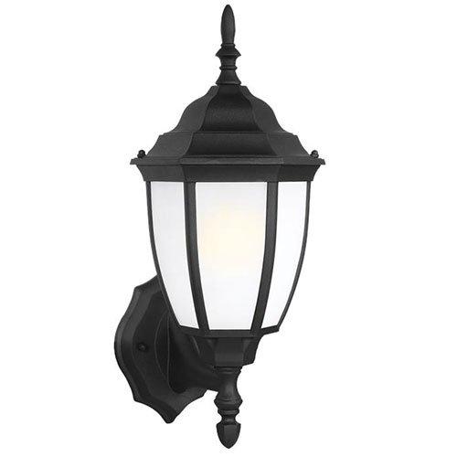 Sea Gull Lighting 88940BLE-12 Baskerville 1-Light Outdoor Wall Lantern Bulb Type with 13-watt Self Ballasted Fluorescent, Black Finish