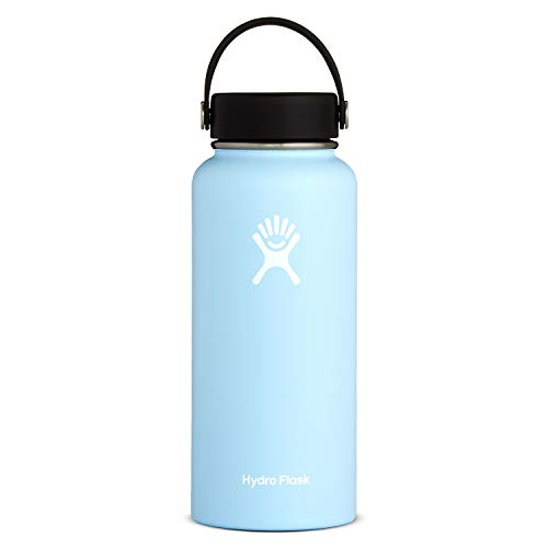 Hydro Flask Water Bottle - Stainless Steel & Vacuum Insulated - Wide Mouth with Leak Proof Flex Cap - 32 oz, Frost (Best Quality Interior Paint 2019)