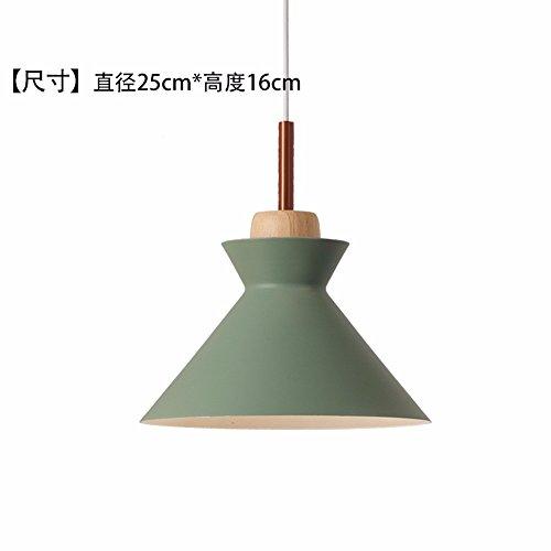 LighSCH Lustre Suspension Plafonnier Restaurant Chambres Simple lumière lampe de chevet vert Bois 25  16cm