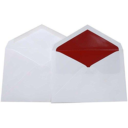 JAM Paper® Wedding Envelope Sets - White with Red Lined Envelopes - Pack of 50 Inner & 50 Outer Envelopes (Red Lined Envelope White)