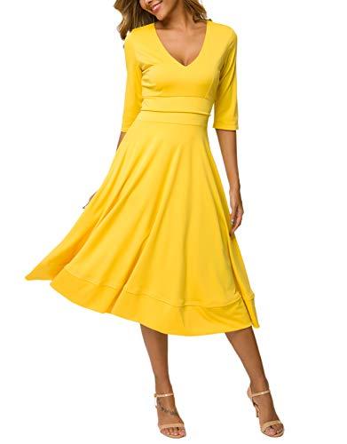 MAVIS LAVEN Women Half Sleeve Deep V Neck Big Swing Party Cocktail Pleated Dress (Medium, Yellow) ()