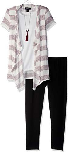 Lurex Stripe Sweater - Amy Byer Girls' Big 2-Piece Clothing Set with Cozy Top and Leggings, Plum Lurex Stripe, S