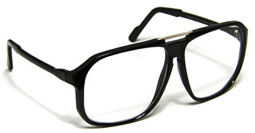 Oversized Clear Lens Eyeglasses Aviator Evidence Square Black - 70s Eyeglasses