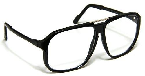 Oversized Clear Lens Eyeglasses Aviator Evidence Square Black - Eyeglasses 70s