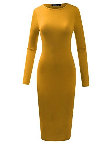 A.F.Y All For You Women's Slim Fit Crew Neck Long Sleeve Bodycon Midi Tunic Dress Mustard XXX-Large ()