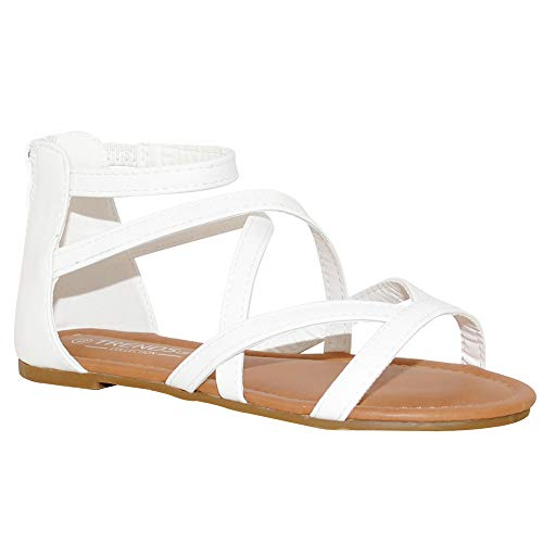 TRENDSup Collection Womens Flats Sandals (6, White)