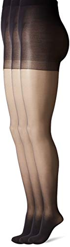 - HUE Women's Age Defiance Sheer Pantyhose with Control Top (Pack of 3), black, 2