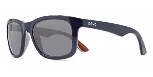 Revo Huddie RE 1000 05 GY Polarized Wayfarer Sunglasses, Navy/Grey/Amber, Graphite, 54 - Flat Polarized Wayfarer Metal