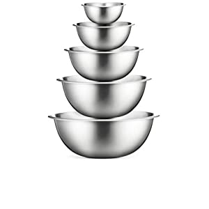 Premium Stainless Steel Mixing Bowls (Set of 5) High Quality Brushed Stainless Steel Mixing Bowl Set – Easy To Clean, Nesting Bowls for Space Saving Storage, Great for Cooking, Baking, Prepping