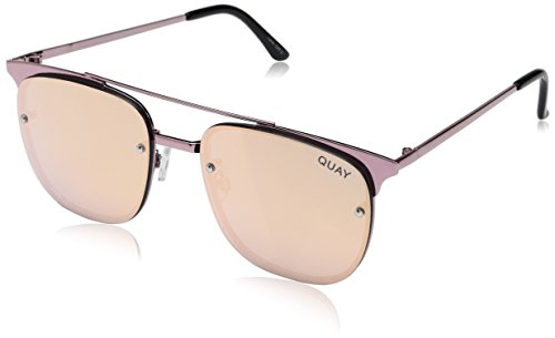 Quay Women's Private Eyes Sunglasses, Pink/Rose Gold, One - Rose Metallic Gold Sunglasses