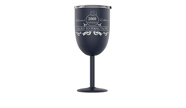 DistinctAndUnique Vaso de Vino de Acero Inoxidable Grabado con ...