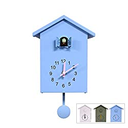 Cuckoo Clock, White Birdhouse, Minimalist Modern Design Clock Pendulum, Natural Field Recordings,Wall Clock Art Home Living Room Kitchen Office Decor Decoration (Blue)