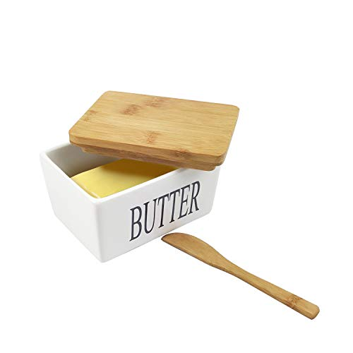 MAYMII·HOME Butter Dish - Airtight Butter Keeper Storage Holds Up to butter - Porcelain Dish Container with Beech Wooden Lid (500ml)