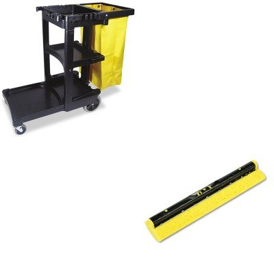 KITRCP617388BKRCP6436YEL - Value Kit - Rubbermaid Mop Head Refill For Steel Roller, Sponge, 12amp;quot; Wide, Yellow (RCP6436YEL) and Rubbermaid Cleaning Cart with Zippered Yellow Vinyl Bag, Black (RCP617388BK) by Rubbermaid (Image #1)