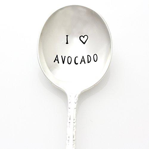 I Love Avocado Spoon. Hand Stamped Vintage Spoon. Stamped Silverware by Milk & Honey Luxuries. Part of the Martha Stewart American Made Market. by Milk & Honey®