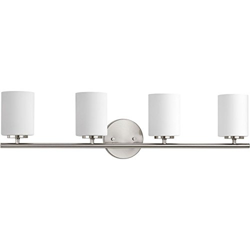 (Progress Lighting P2160-09 Contemporary/Soft 4-100W Med Bath Bracket, Brushed Nickel)