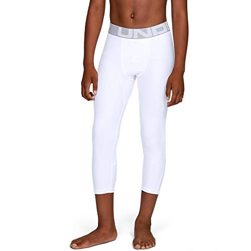 Under Armour Heatgear Armour 3/4 Leggings, White//Mod Gray, Youth Medium (Armour White Leggings Under)