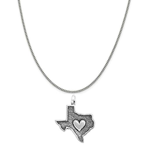 Raposa Elegance Sterling Silver Heart in Texas Map Charm on a 18