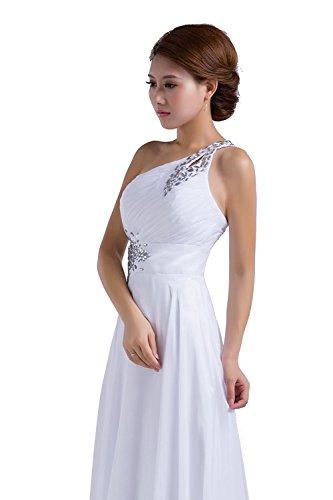 Schulter Perlen Abendkleid Eine Prom Chiffon Kleid Damen Edaier Weiß 0UTO7qBET