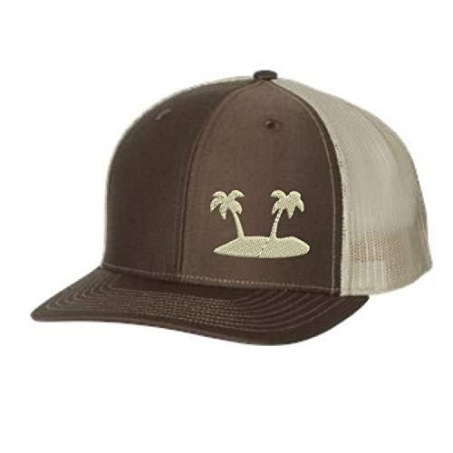 Lane Weston Trucker Hat - Palm Tree Beach - Adjustable Snapback Men Women (Brown/Khaki)