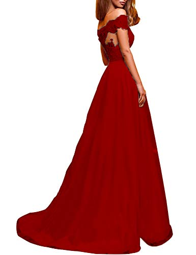 tutu.vivi Women's Sexy Off Shoulder Tulle Prom Dresses Appliques Long Evening Dress Ball Gown Red Size20W