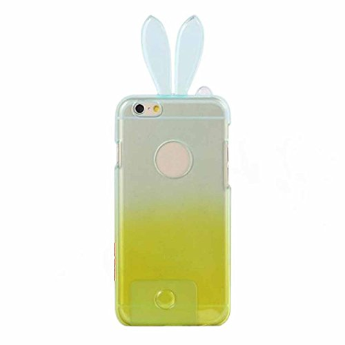 dzt1968 Lovely Gradient Cute Soft TPU Rabbit Ear Case Cover Sink For iphone 6 4.7 inch 1 Piece (E)