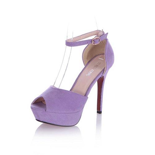 Viola Open Sandalo Toe Platform Uk A Satinato Scamosciato Peep 5 Fibbia Womens Con Tacco Voguezone009 2 Punta Alto HCAxnUwfWq