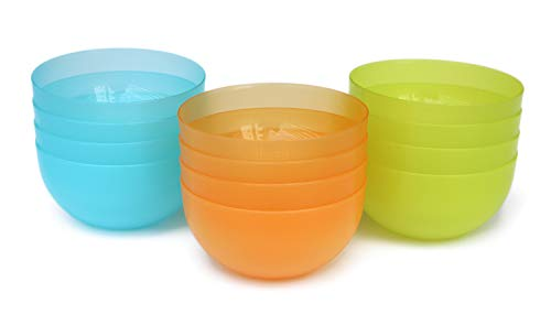 22 oz Plastic Cereal/Soup Bowls,Set of 12 in 3 Assorted Colors,Unbreakable and Flexible,Lime Green/Aqua Blue/Orange,Honla