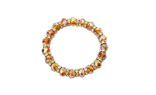 (SouthMineral Brown Semi Clear Austrian Crystal Beads Bracelet BRS014 )