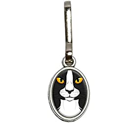 Graphics and More Black White Cat Face - Pet Kitty Antiqued Oval Charm Clothes Purse Luggage Backpack Zipper Pull