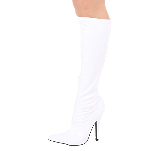 ByPublicDemand Candy Womens High Stiletto Heel Knee High Boots White Patent NJu2N5XY