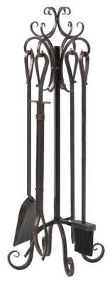 "Panacea Fireplace Tool Set 5 Piece, Scroll Design 29 "" X 10 "" X 10 "" Brushed Bronze"