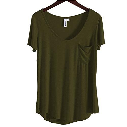 LUFENG Women's Casual V Neck T-Shirt Short Sleeve High Low Tunic Loose Blouse Tops with Pocket,Army Green,Medium