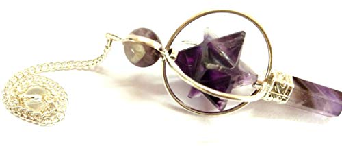 - Amethyst Star Spinning Merkaba Pendulum Sacred Geometry Platonic Solid Healing Genuine Gemstone Crystal Point Metaphysical Spiritual Chakra Balancing Divine Gift Love Pagan Blessings Luck w/Pouch