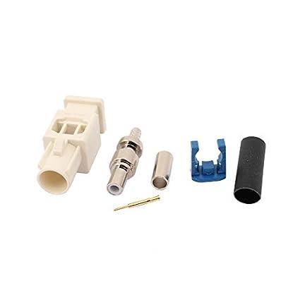 eDealMax Adaptador de RF 0-6GHz Alargado Blanco FAKRA-Z Male Conector Para Cable