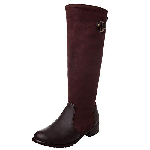 Cocey Women Knee High Low Heel Boots Brown