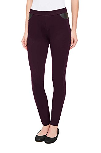 DKNY Womens Ponte Pants (Merlot, Medium) (Dkny Womens Pants)