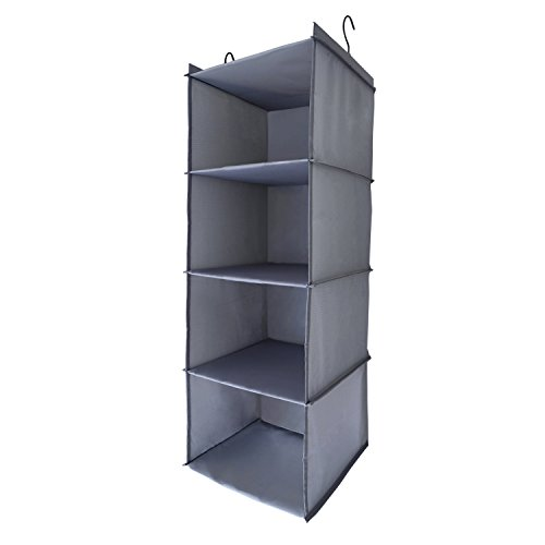 Sharp peak 4-Tier Hanging Closet Organizer, Collapsible Closet Hanging Shelf (gray)