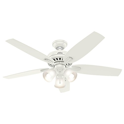 Hunter Indoor Ceiling Fan, with pull chain control – Newsome 52 inch, White, 53316
