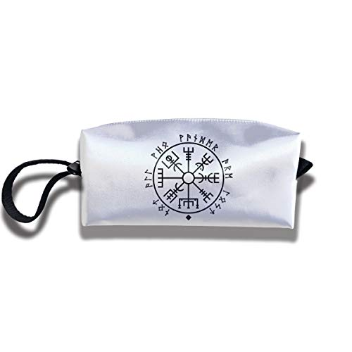 Cosmetic Bags With Zipper Makeup Bag Viking Compass Middle Wallet Hangbag Wristlet -