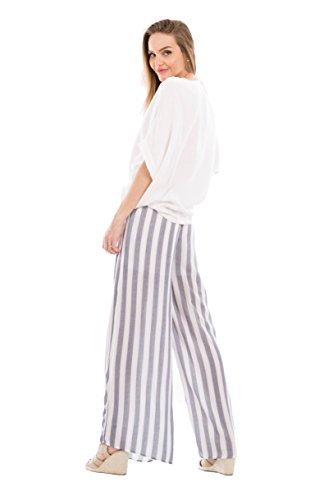 Love In P70010 Wide Leg Striped Pants with Pockets Navy/White M by Love In (Image #5)