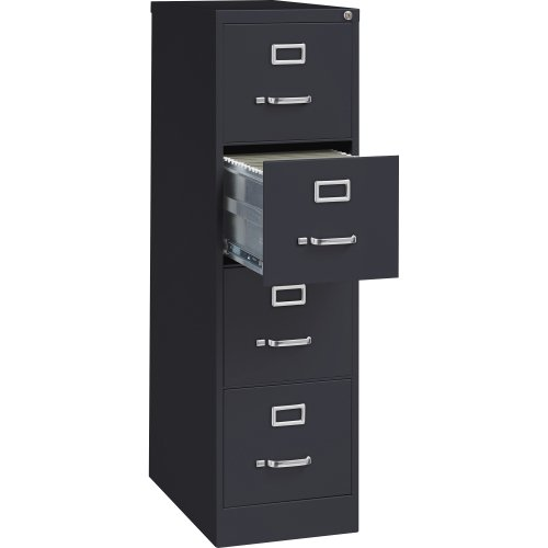 Lorell 4-Drawer Vertical File with Lock, 15 by 25 by 52-Inch, Black by Lorell
