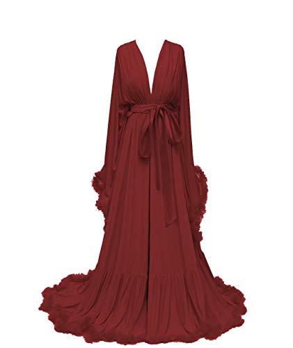 Mauwey Women Sexy Bridal Robe Feather Long Wedding Scarf Satin Lingerie Robe Nightgown Bathrobe Sleepwear