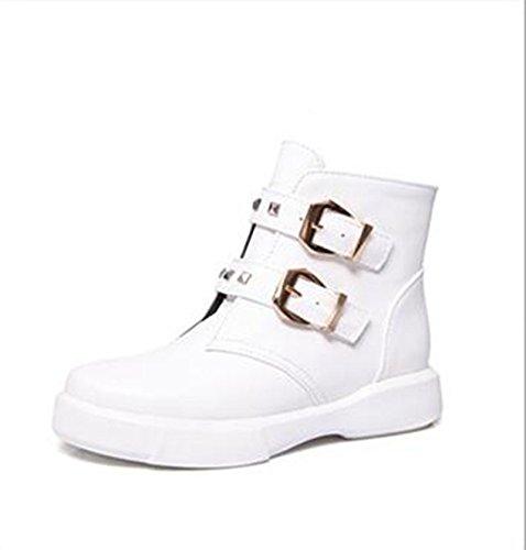 base stivali Donna cintura studente moda corto piana selvaggio stivali fibbia e ZQ bare Cilindretto QXAutunno stivali White di Inverno una con UgX1Hq