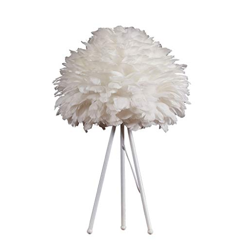 Bright Nordic Style Table Lamp Modern White Feather Table Lamp Bedroom Living Room Study Bedside Decoration Lamp White Warm Lighting System (Color : White, Size : 654025cm)