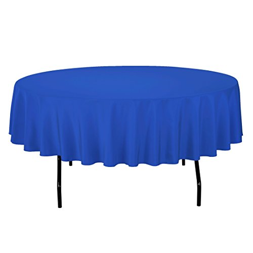 LinenTablecloth 90-Inch Round Polyester Tablecloth Royal Blue
