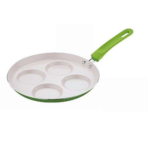 Grüne Spiegelei-Pfanne 24 cm aus Aluminium (Keramik-Pfanne, Pfannkuchen-Pfanne, Soft-Touch-Griff)